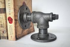 Industrial Pipe Bookend by IndustrialHomeBazaar on Etsy