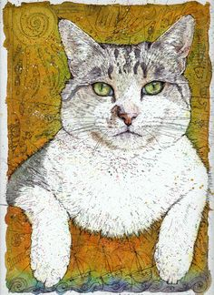 Cat Day (Birthday Present)  Watercolour and Ink-Pen  24.5 cm x 33.5 cm