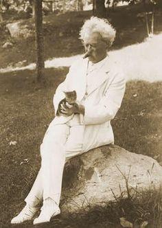 Mark Twain with kitten...