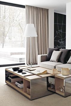 #living rooms #interior design #coffee tables #windows #contemporary #home decoration #style #inspiration - Surface tables by B&B Italia