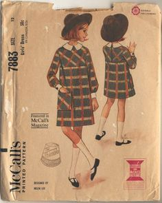 McCalls 7883 c ~ vintage 1965 high-waisted plaid dress by Helen Lee
