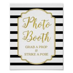 Photo Booth Wedding Sign Gold Black White Stripes Poster