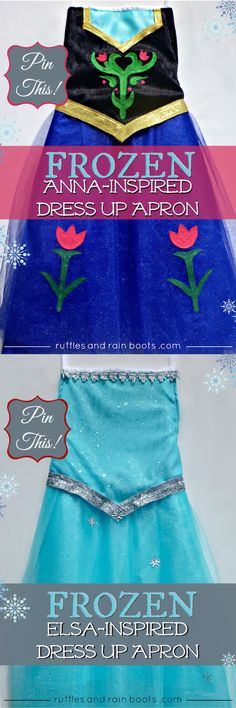 This very popular Princess Anna Dress Up apron costume is perfect for any FROZEN fan. We've made many dress up costumes and share our free patterns and proven beginner sewing tutorials to walk you through it step-by-step. Dress Up Aprons, Dress Up Outfits, Girl Outfits, Frozen Birthday Party, Frozen Party, Costume Halloween, Couple Halloween, Princess Anna Dress, Disney Princess Aprons