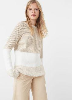 Pullover combinato traforato | MANGO