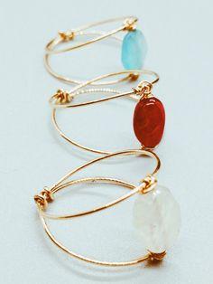 Diy Wire Jewelry Rings, Wire Jewelry Designs, Handmade Wire Jewelry, Diy Crafts Jewelry, Bead Jewellery, Cute Jewelry, Wire Wrapped Jewelry, Gemstone Jewelry, Beaded Jewelry