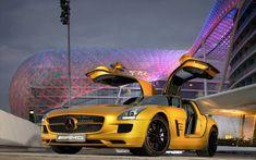 Mercedes-Benz SLS AMG Desert Gold supercar dazzles at Dubai Motor Show : Luxurylaunches Mercedes Sls, Gold Mercedes, Diesel, Dubai, Daimler Ag, Car Hd, Cute Cars, Latest Cars, Expensive Cars