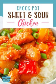 Sweet N Sour Chicken, Crockpot Sweet And Sour Chicken Recipe, Sweet And Sour Recipes, Best Crockpot Recipes, Crockpot Dishes, Crock Pot Slow Cooker, Easy Chicken Recipes, Slow Cooker Recipes, Cooking Recipes