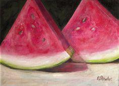 Watermelon 9x12 Acrylic Fruit on Canvas Board Original Food Art by Penny StewArt #Realism