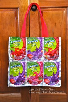 Recycled Juice Pouch Tote Bag (mini tutorial) {wonder if you can get the handle in purple}