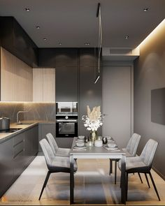 Kitchen Room Design, Home Room Design, Modern Kitchen Design, Living Room Kitchen, Home Decor Kitchen, Interior Design Kitchen, House Design, Small Apartment Design, Kitchen Cabinet Styles