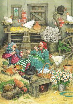 New Single Postcard by Inge LÖÖK Old Ladies Easter | eBay