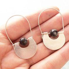 Sterling silver hoop earrings half moon earrings tribal