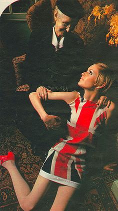 Twiggy in Union Jack Dress