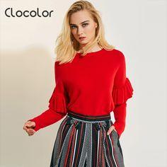 de690079a Clocolor causal solto top pulôver Camisola Das Mulheres ruffle falbala  magro plain sólidos feminino outono outwears 2018 moda camisola das mulheres  em ...
