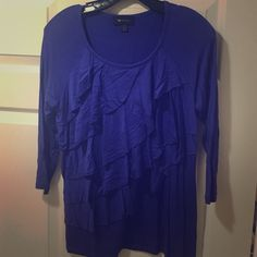 Ruffled top Worn once. Ruffled top with 3/4 length sleeves. Tops Blouses