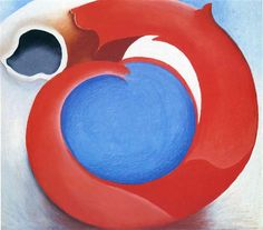 Goat's Horn With Red, 1945 by Georgia O'Keeffe. Precisionism. abstract