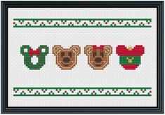 Mouse Ears Christmas Cross Stitch Pattern .PDF Instant | Etsy Disney Christmas Crafts, Minnie Mouse Christmas, Christmas Ideas, Cross Stitching, Cross Stitch Embroidery, Casa Disney, Disney Cross Stitch Patterns, Small Cross Stitch, Mouse Ears