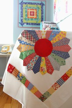 Quilt inspiration: I like the scrappy back she has going with this quilt. I think this will be the perfect idea to finish my great- great grandmother's Dresden quilt. I guess I have my work cut out for me!