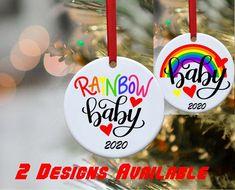 Rainbow Baby Rainbow baby ornament Raimbow baby annoncement Baby annoncement ornament Christmas ornament Funny Ornaments, Baby Ornaments, Christmas Ornaments, Rainbow Baby Announcement, Miracle Baby, Photo Engraving, Some Ideas, Custom Items, Things To Come