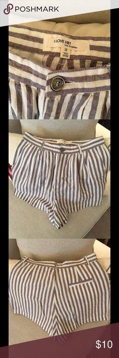 Forever 21 Linen Shorts Gray and Cream Linen Shorts Forever 21 Shorts