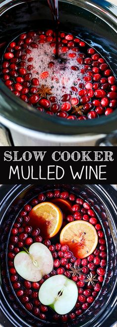 Slow Cooker Mulled Wine - red wine, fresh cranberries, spices and rum!
