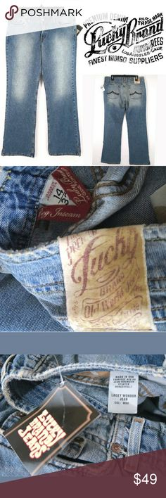 """Lacey Wonder Jeans Size: 32/14  Normal fabric pilling from being worn and washed.  Measurements were taken with garment laying flat and are approximate:  Rise: 9.5""""  Waist: 17.5"""" across  Inseam: 31.5""""  Inv443 Lucky Brand Jeans Boot Cut"""