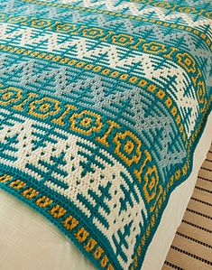 Ravelry: Norway Spruce Blanket pattern by Rosina Plane Source by KarlaPriem Ups Crochet Quilt, Tapestry Crochet, Crochet Home, Crochet Crafts, Crochet Yarn, Easy Crochet, Crochet Stitches, Crochet Projects, Free Crochet