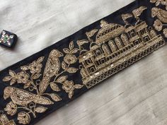 Royal Indian Palace Embroidery Trim Taj Mahal by IndianCraftSafari Indian Palace, Hand Embroidery, Embroidery Designs, Taj Mahal, Royal Indian, Saree Border, Simple Sarees, Romantic Destinations, Gold Work