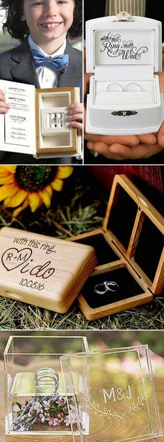Consider wood ring boxes personalized with the bride and groom's names or initials and wedding date as an alternative to traditional ring pillows. From woodland Boho carved boxes to contemporary, white or black finish boxes, or silver plated rose ring holders, ring boxes are available in many styles and sizes to compliment your wedding ceremony. These ring boxes can be ordered at http://myweddingreceptionideas.com/ring-keepsake-boxes.asp
