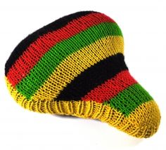 Handknitted rasta bicycle saddle cover  Perfect for my cruiser ;]