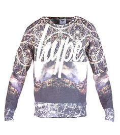 HYPE Long sleeve crew style Ribbed collar Lightweight fabric All-over mountain view print on front and back