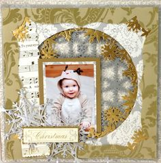 September | 2013 | Anna's Blog -- scrapbook page made with snowflake dies and holiday perfect palette card set and other papers