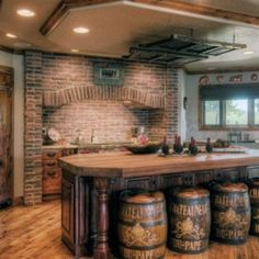 Traditional country kitchens are a design option that is often referred to as being timeless. Over the years, many people have found a traditional country kitchen design is just what they desire so they feel more at home in their kitchen. Rustic Kitchen Design, Country Kitchen, Kitchen Decor, Country Bar, Country Style, Kitchen Ideas, Kitchen Tables, Rustic Style, Kitchen Interior