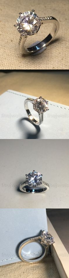 CZ Moissanite and Simulated 92868: 2.5 Ct Off White Round Moissanite 925 Sterling Silver Engagement Wedding Ring 45 -> BUY IT NOW ONLY: $159 on eBay!