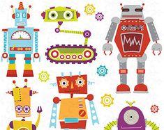 Robots Clipart VECTOR Clip Art Cute Robots by MayPLDigitalArt