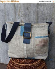 Messenger Bag, Linen Bag, Shoulder Bag, Computer Bag, Crossbody, Patchwork Quilt Bag, Leather Bag