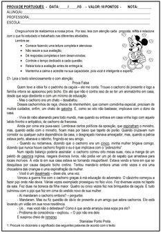 Avaliação / Atividade de língua portuguesa.   Atividade 5º ano de língua portuguesa.