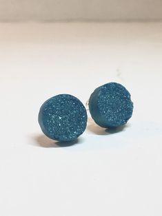 Teal Round Druzy Resin Earrings Teal Druzy Crystal Earrings   Etsy