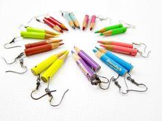 ωραια ιδεα για δωρακι... http://smilepanic.com/wp-content/uploads/pencil-earrings.jpg. Get your ear wires at www.fizzypops.com.