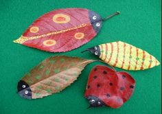 Transform autumn leaves into these colourful and very cute leaf bugs.
