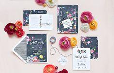 Lindsey + Blake's Floral Noir Wedding Invitations