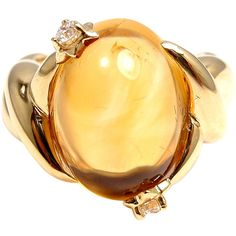 CHANEL Citrine Diamond Yellow Gold Ring ❤ liked on Polyvore