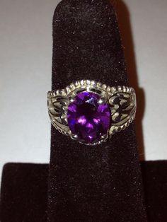 Amethyst Sterling Ring Sz 6 Purple Stone 925 Silver by BargainBitz