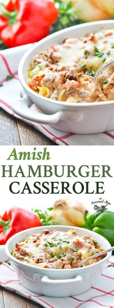 Quick and Easy Amish Hamburger Casserole is a one dish meal that's perfect for busy families! Ground Beef Recipes | Easy Dinner Recipes | Hamburger Recipes | Dinner Ideas