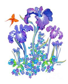 Iris Bouquet Image. watercolor/digital art by Teresa Ascone