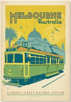 Melbourne Trolley Print, by Anderson Design Group ! Images Vintage, Retro Poster, Vintage Travel Posters, Melbourne Australie, Melbourne Tram, Visit Melbourne, Vintage Advertisements, Vintage Ads, Posters Australia