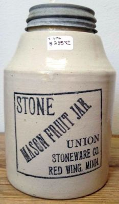 A Red Wing Union Stoneware Company one quart Mason fruit jar. Marked on the bottom PAT JAN 24 Condition: Perfect, no damage or repairs. Antique Bottles, Vintage Bottles, Bottles And Jars, Antique Glass, Glass Jars, Milk Glass, Red Wing Stoneware, Stoneware Crocks, Antique Stoneware