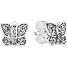 Pandora Earrings - Sterling Silver & Cubic Zirconia Sparkling... ($50) ❤ liked on Polyvore featuring jewelry, earrings, silver, butterfly earrings, sterling silver stud earrings, pandora jewelry, pandora earrings and heart shaped stud earrings