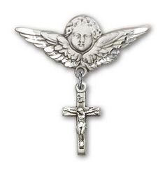 IceCarats Designer Jewelry Sterling Silver Crucifix Charm Angel Badge Pin 1 14 X 1 18 -- Check this awesome product by going to the link at the image.