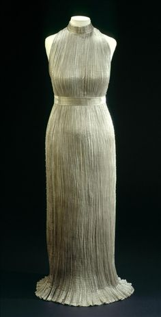 'Delphos' dress   Mariano Fortuny   Italy   1919-1920   silk taffeta, beads   Palais Galliera, musée de la Mode de la Ville de Paris   Museum #: GAL1969.39.1 A
